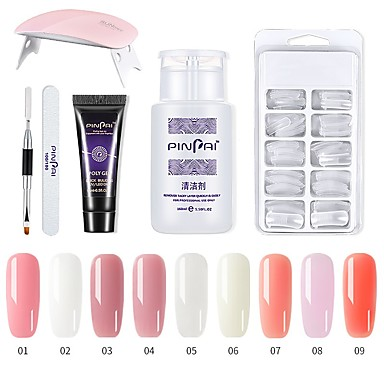 cheap Nail Tools & Equipments-1set Nail Poly Gel Set Nail UV LED Extend Builder Acrylic Gel for Building Manicure Nail Art Tip Extension Polygel Kit