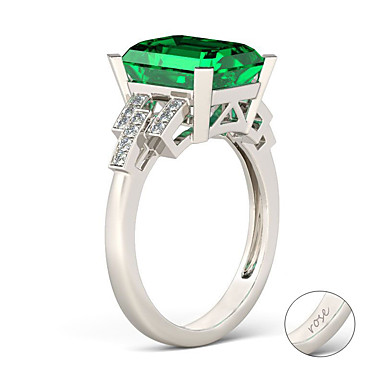 Εξατομικευμένη Προσαρμοσμένη Πράσινο Cubic Zirconia Δαχτυλίδι Κλασσικό Δώρο Υπόσχεση Φεστιβάλ Geometric Shape 1pcs Ασημί