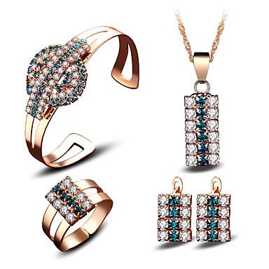 Γυναικεία Cubic Zirconia Νυφικό κόσμημα σετ Γεωμετρική Ευτυχισμένος Στυλάτο Επιχρυσωμένο Σκουλαρίκια Κοσμήματα Ουράνιο Τόξο Για Πάρτι Καθημερινά 4