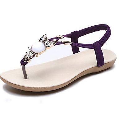 voordelige Damespantoffels & slippers-Dames Slippers & Flip-Flops Platte hak Ronde Teen Strass PU Zomer Paars / Rood / Blauw