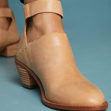 billige Støvler til salgs-Dame Støvler Lav hæl Rund Tå PU Ankelstøvler Sommer Svart / Mørkegrå / Kamel