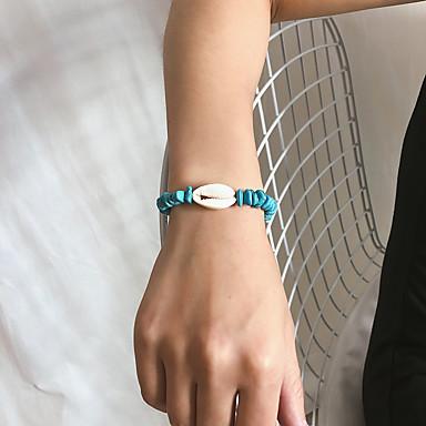 Mulheres Pulseira Entrançado Concha Na moda Góticas Pedra Pulseira de jóias Azul Para Presente Diário Escola Feriado Trabalho
