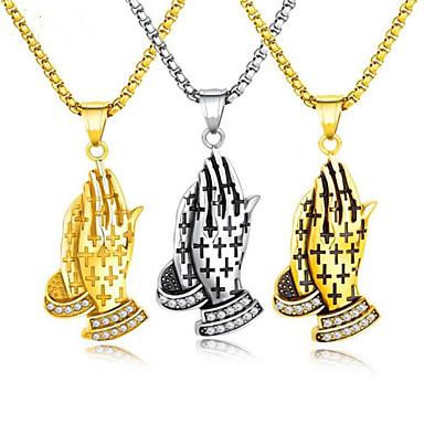 levne Pánské šperky-Pánské Bílá Kubický zirkon Náhrdelníky s přívěšky Klasika ruce Víra Vintage Zirkon Chrome Zlatá Stříbrná Růžové zlato 55 cm Náhrdelníky Šperky 1ks Pro Dar Denní