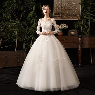 Βραδινή τουαλέτα Bateau Neck Μακρύ Τούλι Μακρυμάνικο Φορέματα γάμου φτιαγμένα στο μέτρο με Διακοσμητικά Επιράμματα 2020