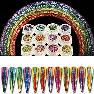12 τεμάχια 0,2 γραμμάρια παγώνι ολογραφική χαμαιλέοντας καρφιά πούλιες πολύχρωμα λάμψη λέιζερ σκόνη σκόνη καρφί διακοσμήσεις τέχνης χρωματισμό