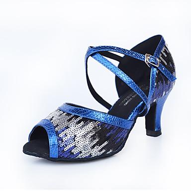 preiswerte Schuhe und Taschen-Damen Tanzschuhe Kunststoff Schuhe für den lateinamerikanischen Tanz Glitter Absätze Kubanischer Absatz Maßfertigung Blau / Leistung / Leder