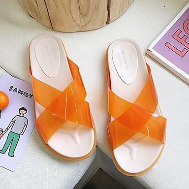 voordelige Damespantoffels & slippers-Dames Slippers & Flip-Flops Platte hak PVC Zomer Oranje / Groen / Roze