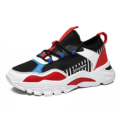 Men's Comfort Shoes Mesh Fall & Winter Casual Athletic Shoes Walking Shoes Non-slipping Black and White / Black / Red / Black / Yellow