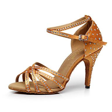 Γυναικεία Παπούτσια Χορού Φο Δέρμα Παπούτσια χορού λάτιν Κρύσταλλο / Στρας Τακούνια Λεπτή ψηλή τακούνια Εξατομικευμένο Μαύρο / Καφέ / Κόκκινο / Επίδοση / Εξάσκηση
