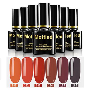 6 stk. Farge 181-186 flekkfargede UV / led gel neglelakk fargelak