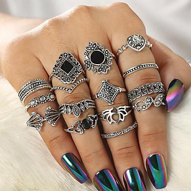 billige Motering-Dame Ring Set Multi-fingerring 15pcs Sølv Harpiks Strass Legering Rund Vintage Bohemsk Daglig Gate Smykker Utskjæring Solsikke Kul Smuk