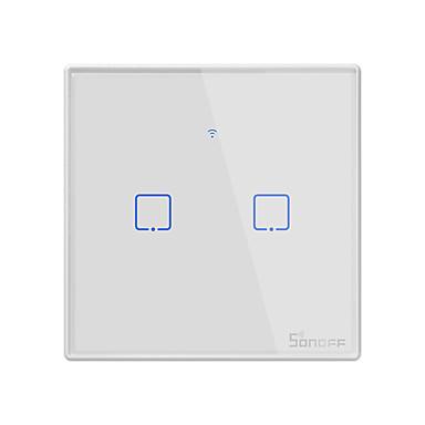 sonoff t2uk2c-tx tx-serien wifi veggbryter smart vegg berøringsbryter for smart hjemme arbeid med alexa google hjemme 100-240v