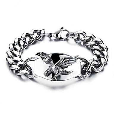 Herre Kjeder & Lenkearmbånd geometriske Ørn Stilfull Titanium Stål Armbånd Smykker Sølv Til Daglig Ferie