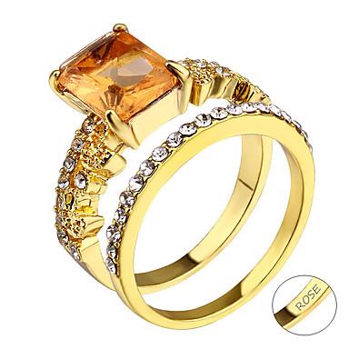 personlig tilpasset Klar Kubisk Zirkonium Ring Klassisk Gave Love Festival Geometrisk Form 1pcs Gull