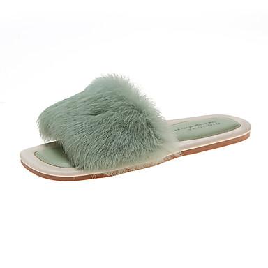 voordelige Damespantoffels & slippers-Dames Slippers & Flip-Flops Platte hak Imitatiebont Zomer Beige / Groen / Roze