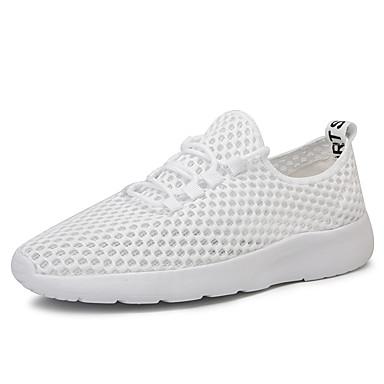 Ανδρικά Παπούτσια άνεσης Δίχτυ Καλοκαίρι Καθημερινό Αθλητικά Παπούτσια Περπάτημα Αναπνέει Μπότες στη Μέση της Γάμπας Μαύρο και Άσπρο / Λευκό / Φορέστε την απόδειξη