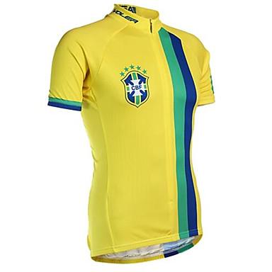 21Grams Βραζιλία Εθνική Σημαία Ανδρικά Κοντομάνικο Φανέλα ποδηλασίας - Κίτρινο Ποδήλατο Αθλητική μπλούζα Μπολύζες Αναπνέει Ύγρανση Γρήγορο Στέγνωμα Αθλητισμός Τερυλίνη / Μικροελαστικό