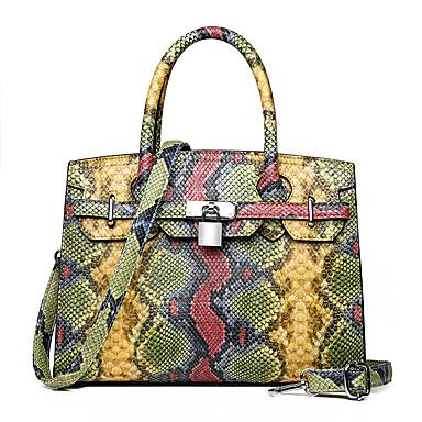 cheap Animal Print-Women's Zipper PU(Polyurethane) / PU Top Handle Bag Snakeskin White / Blushing Pink / Yellow / Fall & Winter
