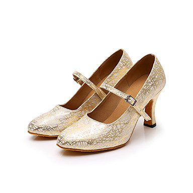 Dame Dansesko PU Moderne sko Høye hæler Kubansk hæl Kan spesialtilpasses Gull / Svart / Sølv / Trening / Ytelse