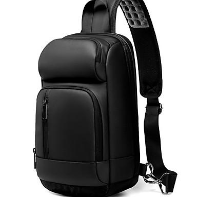 저렴한 Sling Shoulder Bags-남성용 지퍼 폴리 에스터 / PVC 슬링 어깨 가방 블랙