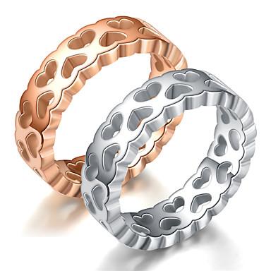 levne Pánské šperky-Pánské Dámské Snubní prsteny Band Ring Prsten 1ks Stříbrná Růžové zlato Titanová ocel Kulatý Základní Módní Dar Denní Šperky Srdce Cool / Tail Ring