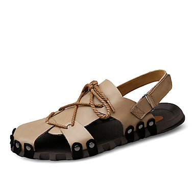 Ανδρικά Παπούτσια άνεσης Νάπα Leather Ανοιξη καλοκαίρι Καθημερινό Σανδάλια Αναπνέει Μαύρο / Καφέ / Χακί