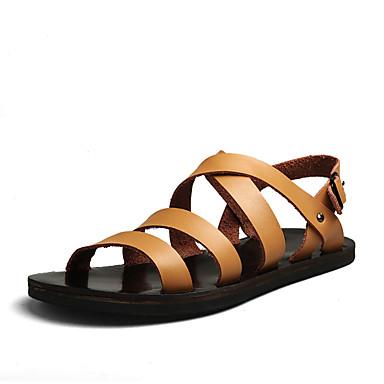 Ανδρικά Παπούτσια άνεσης PU Καλοκαίρι Καθημερινό Σανδάλια Μη ολίσθηση Λευκό / Μαύρο / Καφέ