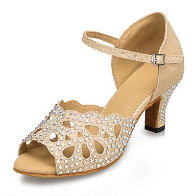 preiswerte Schuhe und Taschen-Damen Tanzschuhe Kunststoff Schuhe für den lateinamerikanischen Tanz Strass / Crystal / Strass / Seide aushöhlen Absätze Kubanischer Absatz Maßfertigung Gold / Leder