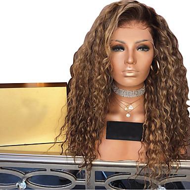 Syntetiske parykker Afro Kinky Lagvis frisyre Parykk Medium Lengde Lys Gylden Syntetisk hår 50~56 tommers Dame syntetisk Lysebrun