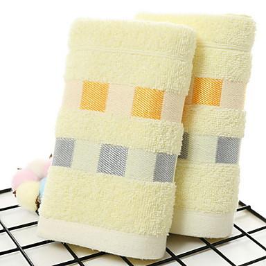 Overlegen kvalitet Vaskehåndklæ, Stripet Bomull / Linblandning Baderom 10 pcs