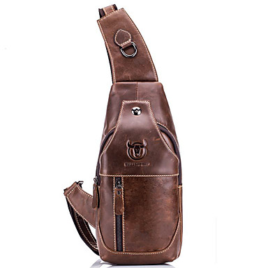 cheap BULLCAPTAIN®-(BULLCAPTAIN) Retro Men's Leather One-Shoulder Twill Head Layer Leather Chest Bag