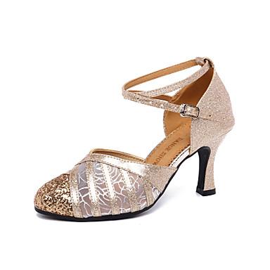preiswerte Tanzschuhe-Damen Tanzschuhe Gitter / PU Schuhe für modern Dance Schnalle / Schleifen / Pailetten Absätze Kubanischer Absatz Maßfertigung Gold / Silber / Leistung / Praxis