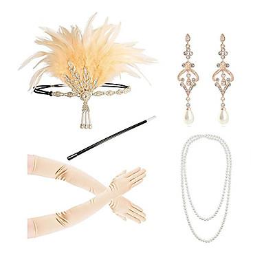 The Great Gatsby Κεφαλόδεσμοι Σκουλαρίκι Coliere cu Perle 1920s Κράμα Σύνολα Για Χοροεσπερίδα Πάρτι / Κοκτέιλ Γυναικεία Κοστούμια Κοσμήματα Κοσμήματα μόδας / Γάντια / Ράψιμο τσιγάρων / Γάντια / Κολιέ