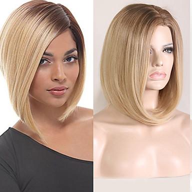 Συνθετικές Περούκες Φυσικό ευθεία Κούρεμα καρέ Περούκα Χρυσό Κοντό Μαύρο / Φράουλα Ξανθιά Συνθετικά μαλλιά 8 inch Γυναικεία Πάρτι Γυναικεία Χρυσό