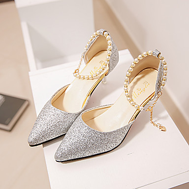 cheap Women's Heels-Women's Sandals Glitter Crystal Sequined Jeweled Spring / Summer Pumps Closed Toe Casual Daily Solid Colored PU Walking Shoes Black / Gold / Silver