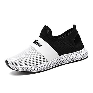 Ανδρικά Παπούτσια άνεσης Δέρμα / Δίχτυ Καλοκαίρι Καθημερινό Αθλητικά Παπούτσια Περπάτημα Αναπνέει Μαύρο / Μαύρο και Άσπρο / Λευκό