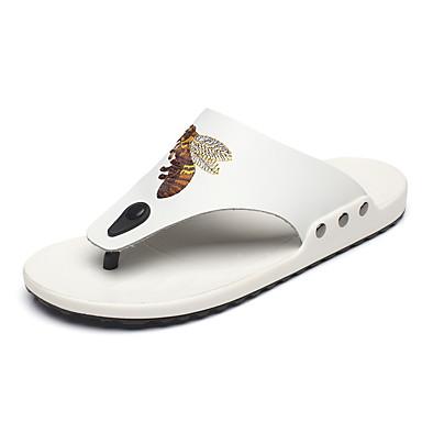 Ανδρικά Παπούτσια άνεσης Δερμάτινο Καλοκαίρι Καθημερινό Παντόφλες & flip-flops Περπάτημα Αναπνέει Λευκό / Μαύρο