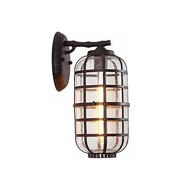 vanntett vegg lanterne moderne design 1-lys utendørs vegg sconce glass sylinder lantern vegg lys hage vegg lysarmaturer svart