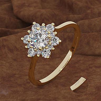 billige Motering-personlig tilpasset Klar Kubisk Zirkonium Ring Klassisk Gave Love Festival Geometrisk Form 1pcs Gull Sølv