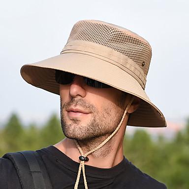 Boonie hat 1 stk Bærbar Vindtett Anti-Stråling Bekvem Helfarge Terylene Høst til Herre Dame Camping / Vandring / Grotte Udforskning Reise Mørkegrå