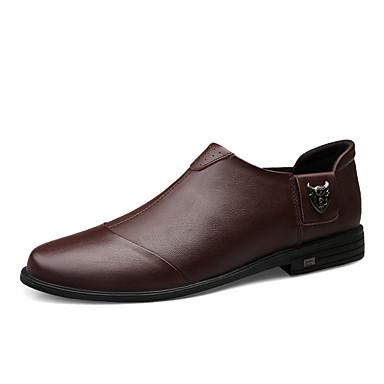 Ανδρικά Δερμάτινα παπούτσια Νάπα Leather Ανοιξη καλοκαίρι / Φθινόπωρο & Χειμώνας Καθημερινό / Βρετανικό Μοκασίνια & Ευκολόφορετα Περπάτημα Μη ολίσθηση Μαύρο / Καφέ / ΕΞΩΤΕΡΙΚΟΥ ΧΩΡΟΥ