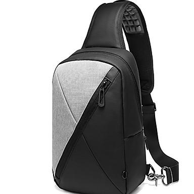 저렴한 Sling Shoulder Bags-남성용 지퍼 옥스퍼드 섬유 / PVC 슬링 어깨 가방 한 색상 블랙 / 밝은 그레이