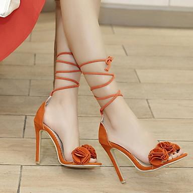 preiswerte Modische Sandalen-Damen Sandalen Stöckelabsatz Spitze Zehe Satin Blume PU Sommer Orange / Gelb / Rosa