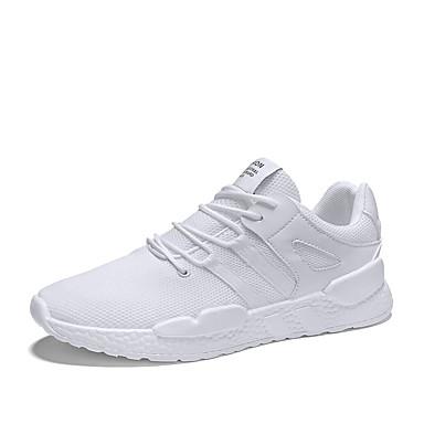 Ανδρικά Παπούτσια άνεσης Δίχτυ / PU Καλοκαίρι Αθλητικό Αθλητικά Παπούτσια Τρέξιμο Μη ολίσθηση Μαύρο / Λευκό / Μπεζ