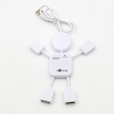 preiswerte USB Hubs & Switches-4 Port USB 2.0 High Speed Hub für PC Laptop Puppe Mann Design weiß