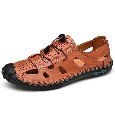 Ανδρικά Παπούτσια άνεσης PU Καλοκαίρι Καθημερινό Σανδάλια Μη ολίσθηση Μαύρο / Καφέ