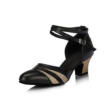 Γυναικεία Μοντέρνα παπούτσια / Αίθουσα χορού PU Cross Strap Τακούνια Κόψιμο Πυκνό τακούνι Εξατομικευμένο Παπούτσια Χορού Μαύρο και Χρυσό / Εξάσκηση