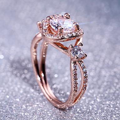 voordelige Dames Sieraden-Dames Bandring Ring Kubieke Zirkonia 1pc Roos Koper Roos verguld Geometrische vorm Stijlvol Luxe Feest Lahja Sieraden Klassiek Cool