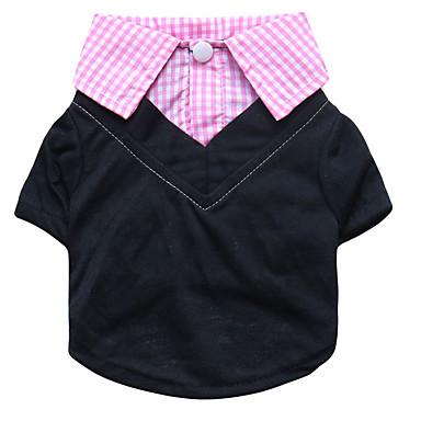 Hunder Trøye / T-skjorte Hundeklær Gul Blå Rosa Kostume Dalmatiner Corgi Beagle polyester Pledd / Tern Fritid / hverdag Enkel Stil XS S M L