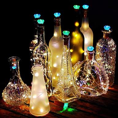1pc φώτα 1m σειρά 15 λυχνίες φανών μπουκαλιών φελλό μπαταρίες λυχνία λυχνίας διακοσμητικό λυχνάρι σχοινιού για εποχιακές χριστουγεννιάτικη διακόσμηση party / λατρευτός / χρώμα βαθμιδωτές μπαταρίες